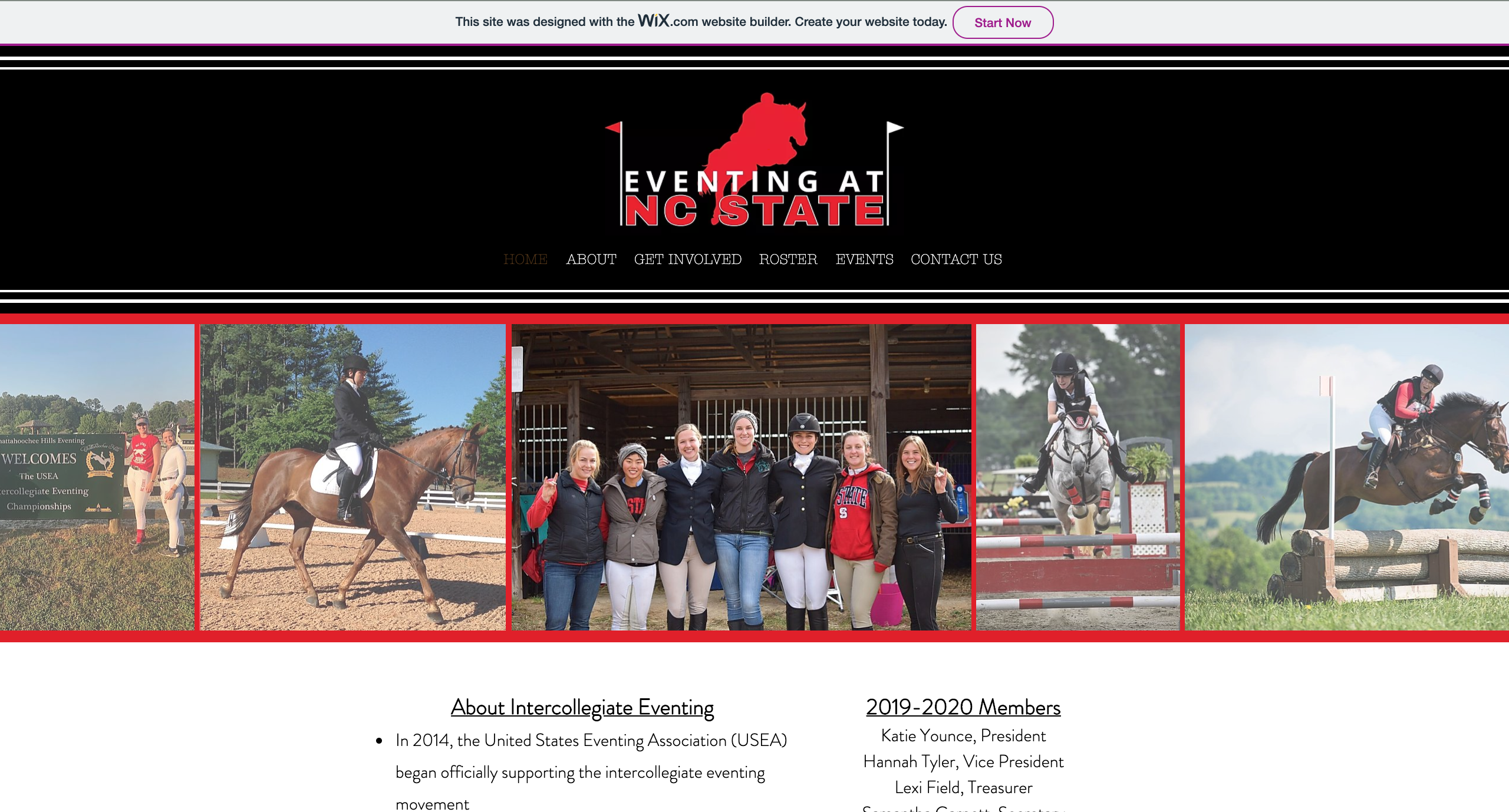 Screenshot of the Eventing at NC State home page