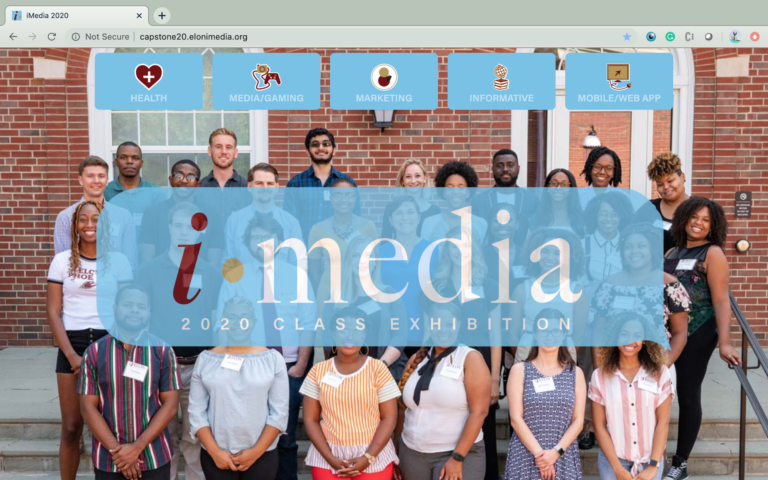 Home page of the iMedia 2020 Capstone Exhibition website.