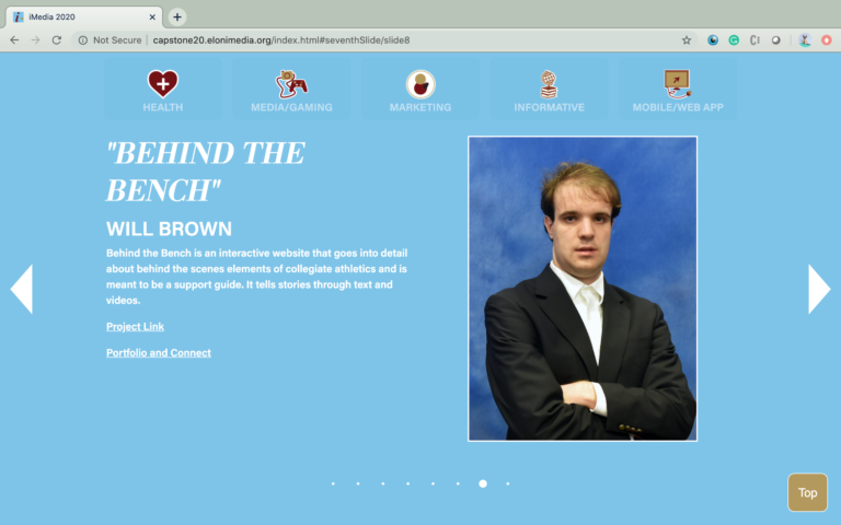 Image of an individual student page with blue background on the iMedia Exhibition Website 2020.