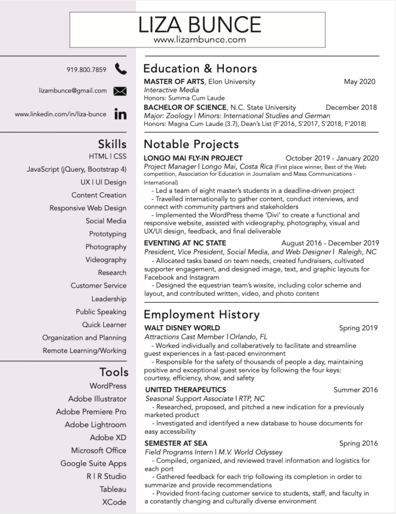 Picture of Liza Bunce's Resume
